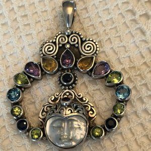 Jewelry - Beautiful Multi-Stone/wPearl Moon Face Pendant, SS